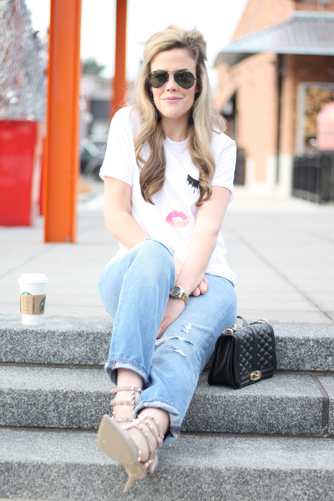 Cheeky Graphic Tee Amp Distressed Boyfriend Jeans A Mix Of Min